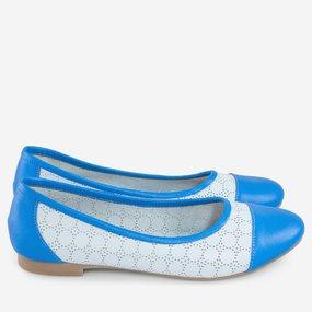 Balerini din piele perforata alba cu albastru Blue Summer
