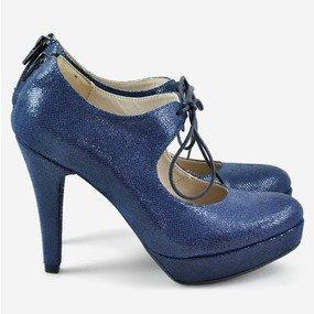 Pantofi din piele naturala bleumarin Thea