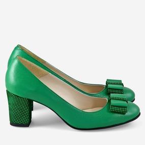 Pantofi din piele naturala verde Samantha