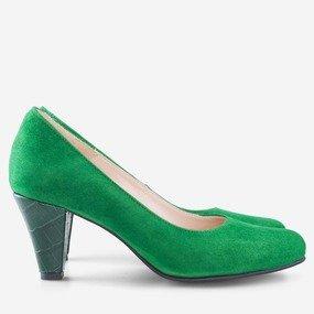 Pantofi office din piele intoarsa verde Kaia