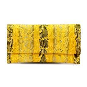Plic piele naturala imprimeu sarpe galben