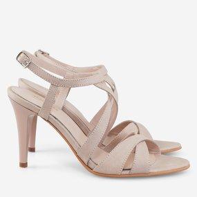 Sandale cu toc din piele naturala bej Freya