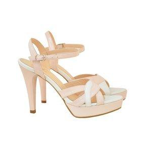 Sandale din piele lacuita roz deschis cu lac alb Cotton Candy