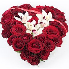 Red Roses & Orchids Heart