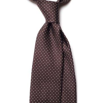Handrolled 7-fold silk tie - brown