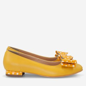 Balerini din piele naturala mango cu fundite Juliette