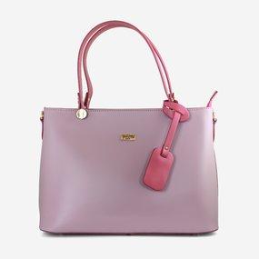 Geanta din piele naturala roz-lila Pippa