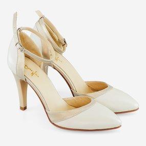 Pantofi decupati beige cu garnituri sidefate Perlla