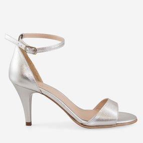 Sandale din piele naturala argintie Essence
