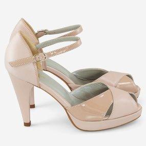 Sandale dama nude din piele naturala lacuita Eveline