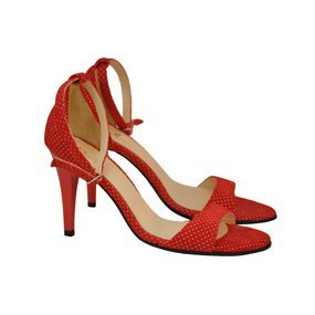 Sandale din piele naturala rosie cu buline Laura