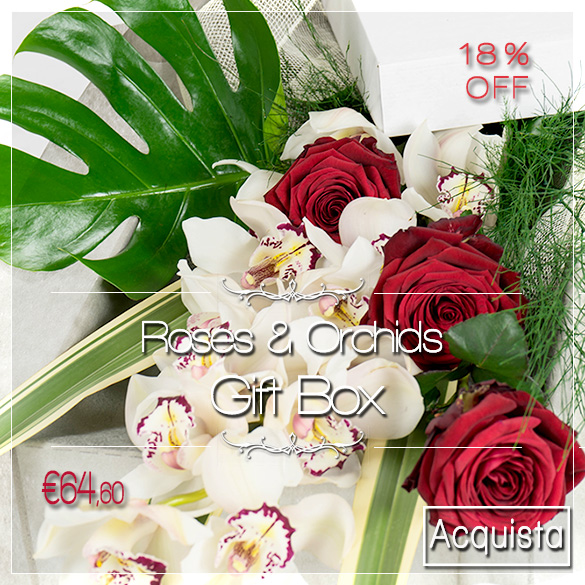 red roses orchid box